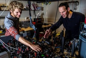 First author Ir. Bas Hensen and Prof. Dr. Ir. Ronald Hanson adjusting the Bell test setup at location A. Photo: Frank Auperle.