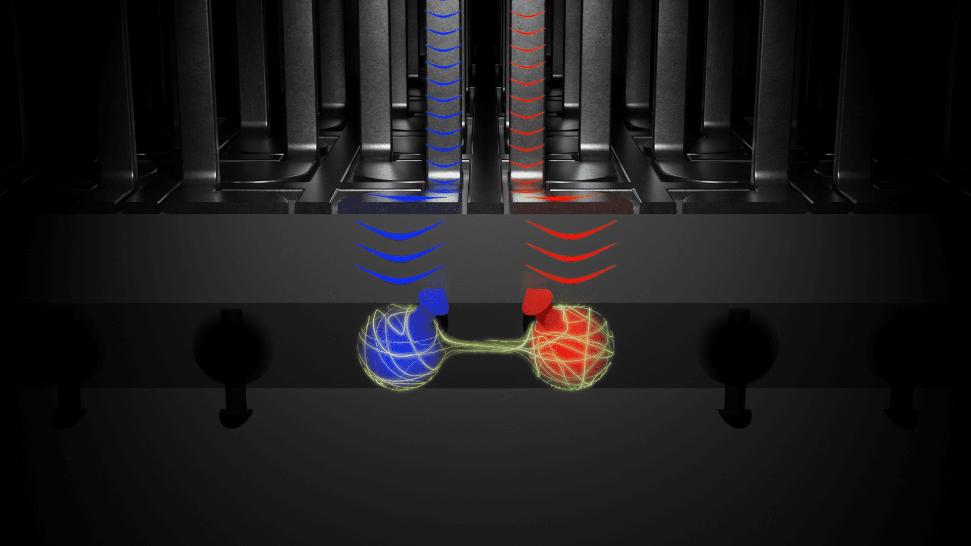 Illustration of 2 quantum bits made out of germanium transistors for a quantum computer.
